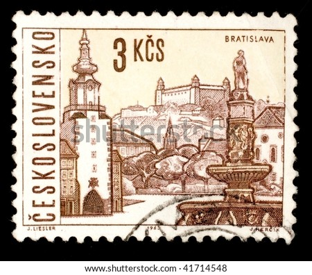 CZECHOSLOVAKIA - CIRCA 1963: A stamp printed in Czechoslovakia shows image of Bratislava, the present day Slovakian capital city, series, circa 1963