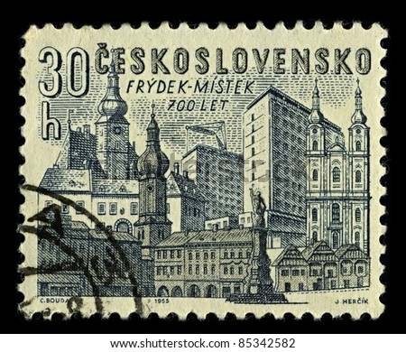 CZECHOSLOVAKIA -CIRCA 1965: A stamp printed in Czechoslovakia shows image of Frydek-Mistek  is a city in Moravian-Silesian Region of the Czech Republic,circa 1965.