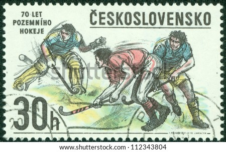 CZECHOSLOVAKIA - CIRCA 1978: A Stamp printed in Czechoslovakia shows image of Hockey, circa 1978