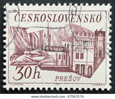 CZECHOSLOVAKIA - CIRCA 1967: a stamp printed in  Czechoslovakia shows image of Presov, the third-largest town in Slovakia. Czechoslovakia, circa 1967