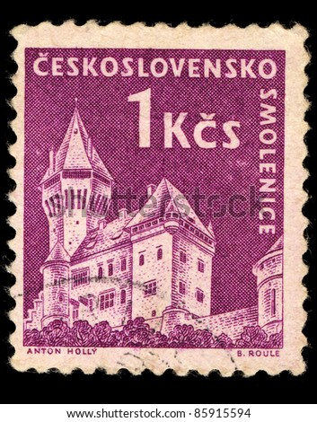 CZECHOSLOVAKIA - CIRCA 1950: A Stamp printed in Czechoslovakia shows image of Smolenice Castle, circa 1950