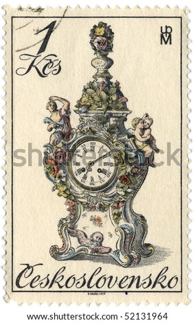 CZECHOSLOVAKIA - CIRCA 1979: A stamp printed in Czechoslovakia shows image of the clock, circa 1979.