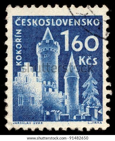 CZECHOSLOVAKIA - CIRCA 1960: A stamp printed in Czechoslovakia, shows Kokorin Castle, circa 1960 - stock photo
