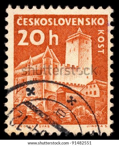 CZECHOSLOVAKIA - CIRCA 1960: A stamp printed in Czechoslovakia, shows Kost Castle, circa 1960
