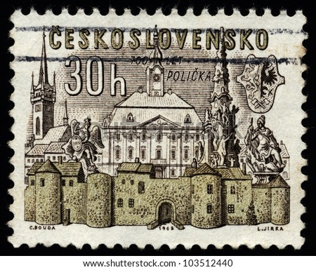 CZECHOSLOVAKIA -CIRCA 1965: A stamp printed in Czechoslovakia shows landmark buildings in Policka -  town on Bohemia-Moravia borderline in the Pardubice Region of the Czech Republic, circa 1965.