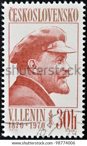 CZECHOSLOVAKIA - CIRCA 1970: A Stamp printed in Czechoslovakia shows Lenin, circa 1970