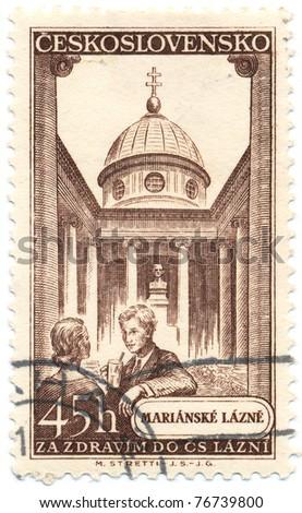 CZECHOSLOVAKIA - CIRCA 1956: A stamp printed in Czechoslovakia, shows Marianske Lazne (spa town in the Karlovy Vary Region), circa 1956