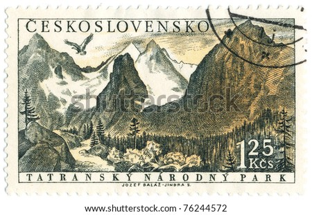 CZECHOSLOVAKIA - CIRCA 1957: A stamp printed in Czechoslovakia, shows National Park in the Tatra Mountains, circa 1957