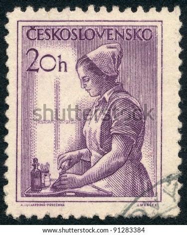 CZECHOSLOVAKIA - CIRCA 1954: A stamp printed in Czechoslovakia, shows Nurse, series, circa 1954