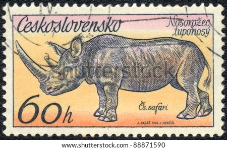 CZECHOSLOVAKIA - CIRCA 1976: A stamp printed in CZECHOSLOVAKIA  shows Phinoceros, series, circa 1976