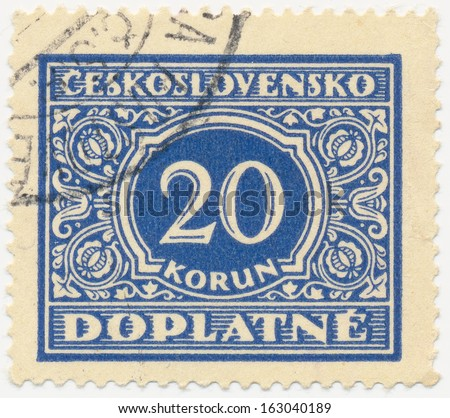 CZECHOSLOVAKIA CIRCA 1954 A stamp printed in Czechoslovakia shows postage stamp with the number 20 crowns circa 1954