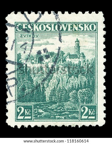 CZECHOSLOVAKIA - CIRCA 1936: A stamp printed in Czechoslovakia, shows royal castle at Zvikov, circa 1936.