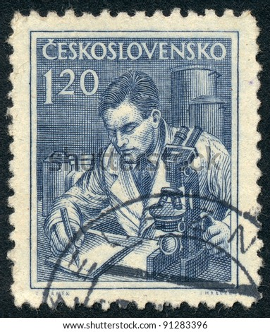 CZECHOSLOVAKIA - CIRCA 1954: A stamp printed in Czechoslovakia, shows Scientist and microscope, series, circa 1954