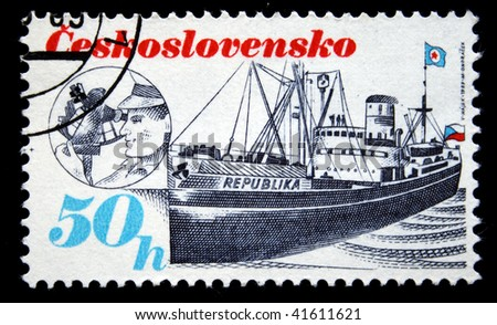 CZECHOSLOVAKIA - CIRCA 1978: A Stamp printed in Czechoslovakia shows ship Republika, circa 1978 - stock photo
