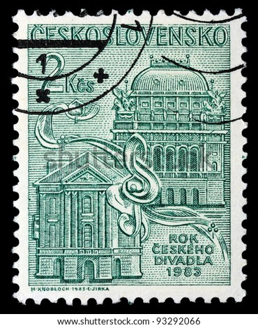 CZECHOSLOVAKIA - CIRCA 1983: A stamp printed in Czechoslovakia, shows State theater in Prague, circa 1983