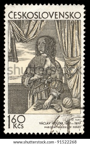 CZECHOSLOVAKIA - CIRCA 1971: A stamp printed in Czechoslovakia, shows  Summer 1641 by Vaclav Hollar (1607-1677) Bohemian painter and draftsman, circa 1971