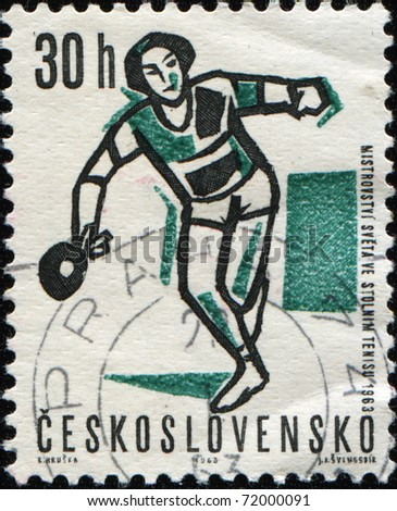 CZECHOSLOVAKIA - CIRCA 1992: A stamp printed in Czechoslovakia, shows table tennis player, circa 1992