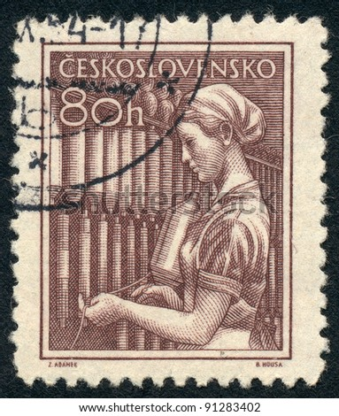 CZECHOSLOVAKIA - CIRCA 1954: A stamp printed in Czechoslovakia, shows Textile worker, series, circa 1954