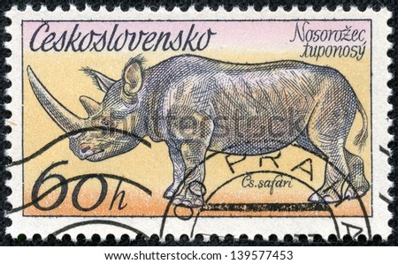 """CZECHOSLOVAKIA - CIRCA 1976: A Stamp printed in Czechoslovakia shows the image of the Rhinoceros from the series """"African animals in Dvur Kralove Zoo"""", circa 1976"""
