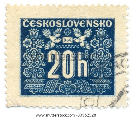 CZECHOSLOVAKIA - CIRCA 1946-48: A stamp printed in Czechoslovakia shows the stamp to pay postage costs, circa 1946-48