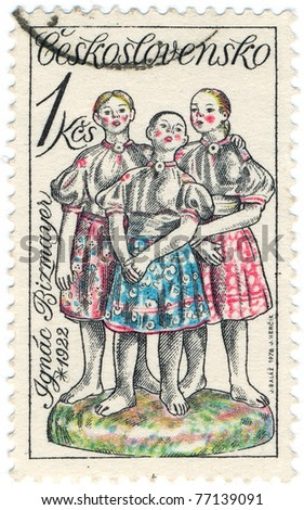 CZECHOSLOVAKIA - CIRCA 1978: A stamp printed in Czechoslovakia, shows three girls singing, Slovak ceramics by Ignac Bizmayer, circa 1978