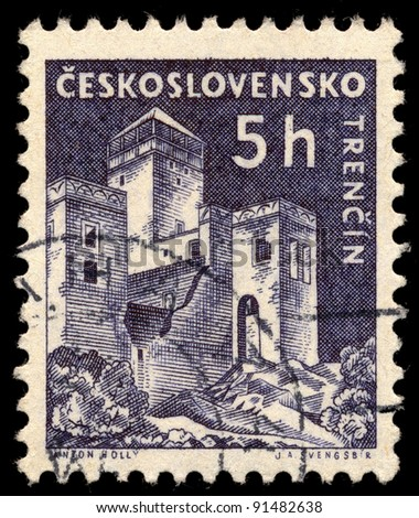 CZECHOSLOVAKIA - CIRCA 1960: A stamp printed in Czechoslovakia, shows Trencin Castle, circa 1960