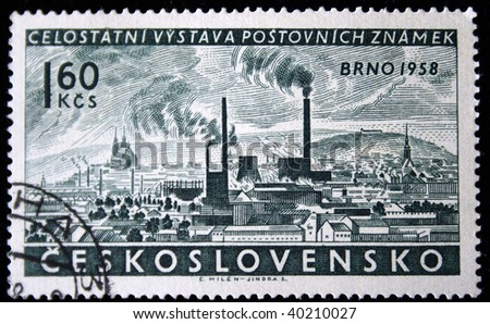 CZECHOSLOVAKIA - CIRCA 1958: A Stamp printed in Czechoslovakia shows Wiev of Brno, circa 1958