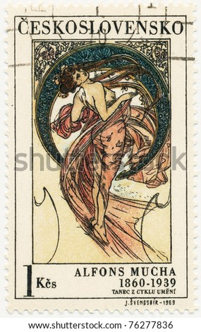 "CZECHOSLOVAKIA - CIRCA 1969: A stamp printed in Czechoslovakia, shows women  allegory ""Dance"" paintings by Alfons Mucha, circa 1969"