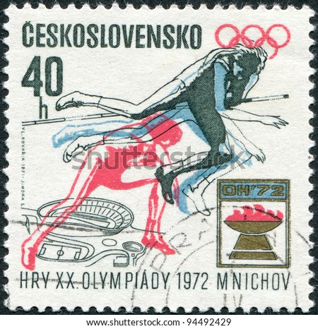 CZECHOSLOVAKIA - CIRCA 1971: A stamp printed in the Czechoslovakia, dedicated to 20th Summer Olympic Games, Munich, shows the Women's high jump, Olympic emblem and plan for Prague Stadium, circa 1971