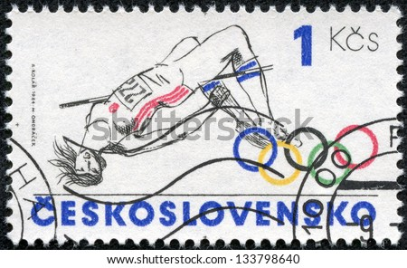 CZECHOSLOVAKIA - CIRCA 1984: A stamp printed in the Czechoslovakia, is dedicated to the Summer Olympics in Los Angeles, shows a Pole vault, circa 1984