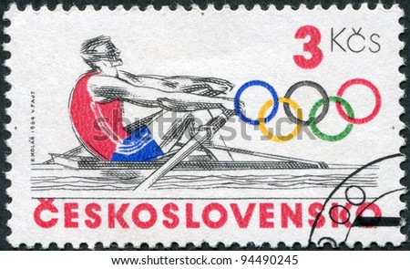 CZECHOSLOVAKIA - CIRCA 1984: A stamp printed in the Czechoslovakia, is dedicated to the Summer Olympics in Los Angeles, is shown Rowing, circa 1984