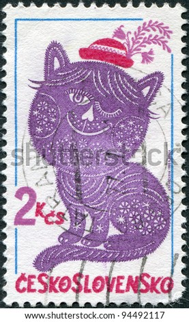 CZECHOSLOVAKIA - CIRCA 1980: A stamp printed in the Czechoslovakia, shown Folktale character embroideries, Dandy and Posy, circa 1980
