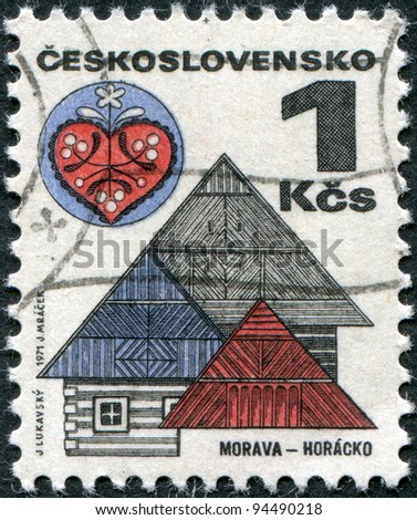 CZECHOSLOVAKIA - CIRCA 1971: A stamp printed in the Czechoslovakia, shown Roofs and folk art, Horacko, circa 1971