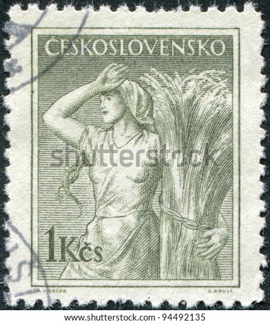 CZECHOSLOVAKIA - CIRCA 1954: A stamp printed in the Czechoslovakia, shows a peasant woman, circa 1954 - stock photo