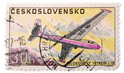 CZECHOSLOVAKIA - CIRCA 1967: A stamp printed in The Czechoslovakia shows image famous aerobatic glider Zlin L 13 Blanik, series, circa 1967