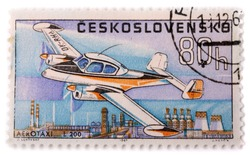CZECHOSLOVAKIA - CIRCA 1967: A stamp printed in The Czechoslovakia shows image famous small taxi plane Zlin L 200 Morava, series, circa 1967