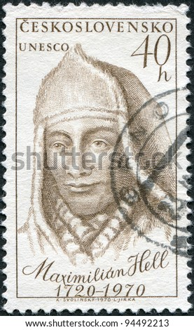 CZECHOSLOVAKIA - CIRCA 1970: A stamp printed in the Czechoslovakia, shows Maximilian Hell (1720-92), Slovakian Jesuit and astronomer, circa 1970
