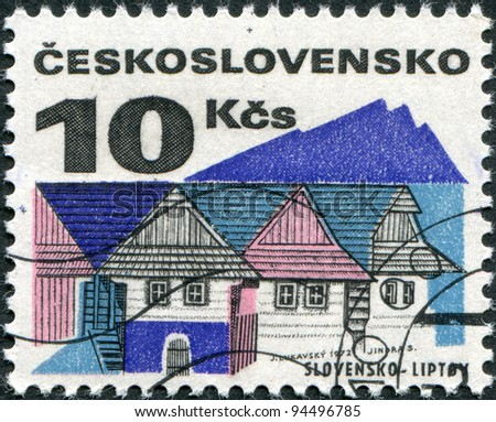 CZECHOSLOVAKIA - CIRCA 1971: A stamp printed in the Czechoslovakia, shows Old houses, Liptov, circa 1971