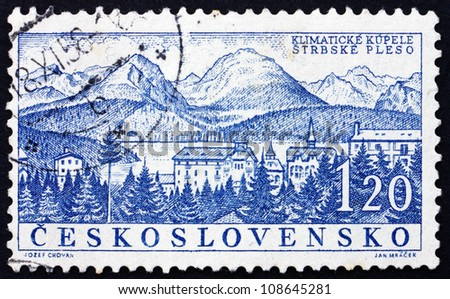 CZECHOSLOVAKIA - CIRCA 1958: a stamp printed in the Czechoslovakia shows Strbske Pleso, Spa Town, Slovakia, circa 1958