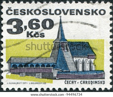 CZECHOSLOVAKIA - CIRCA 1971: A stamp printed in the Czechoslovakia, shows the Church of St. Bartholomew, Chrudim, circa 1971