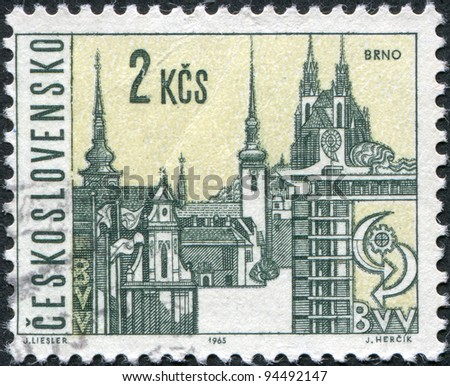 CZECHOSLOVAKIA - CIRCA 1965: A stamp printed in the Czechoslovakia, shows the city of Brno, circa 1965