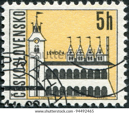 CZECHOSLOVAKIA - CIRCA 1965: A stamp printed in the Czechoslovakia, shows the city of Levoca, circa 1965