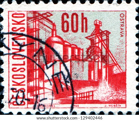 CZECHOSLOVAKIA - CIRCA 1966: A stamp printed in the Czechoslovakia, shows the city of Ostrava, circa 1966