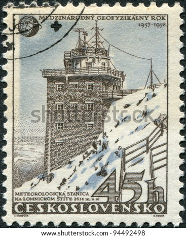 CZECHOSLOVAKIA - CIRCA 1957: A stamp printed in the Czechoslovakia, shows the Meteorological station in High Tatra, Lomnicky peak, circa 1957