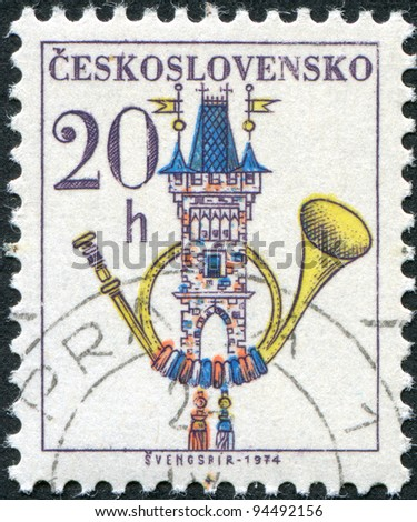 CZECHOSLOVAKIA - CIRCA 1974: A stamp printed in the Czechoslovakia, shows the Post Horn, Old Town Bridge Tower, circa 1974