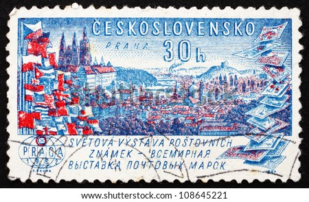 CZECHOSLOVAKIA - CIRCA 1962: a stamp printed in the Czechoslovakia shows View of Prague, World Exhibition of Postage Stamps, circa 1962
