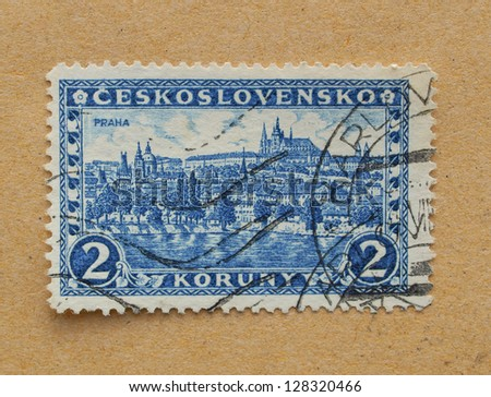 CZECHOSLOVAKIA, CIRCA 1926 - Czechoslovakian stamp depicting the historical city centre and monuments of Prague, in Czechoslovakia, circa 1926
