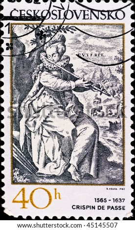 CZECHOSLOVAKIA - CIRCA 1982: postage stamp shows engraving of Crispin de Passe, circa 1982