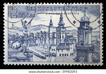 CZECHOSLOVAKIA - CIRCA 1950s: A Stamp printed in Czechoslovakia shows Wiev of Banska Bystrica, circa 1950s