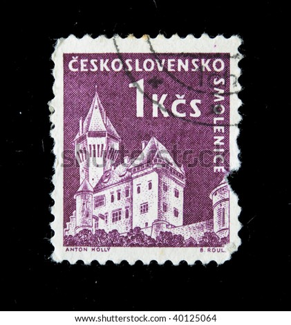 CZECHOSLOVAKIA - CIRCA 1950s: A Stamp printed in Czechoslovakia shows Wiev of Smolenice, circa 1950s